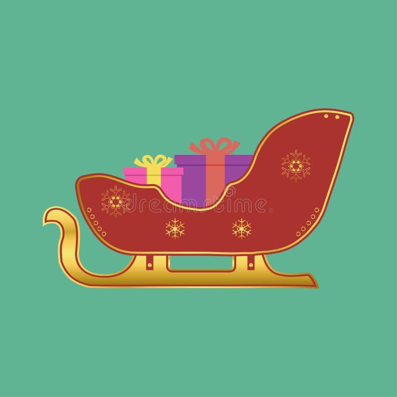 Сани Санта Клауса Сани рождества с подарками Элемент для карточки или знамени праздника вектор иллюстрация штока
