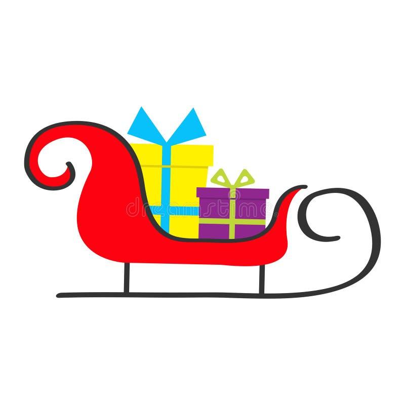 Сани Санта Клауса с комплектом подарочной коробки рождество веселое Настоящий момент Giftbox с смычком ленты Милые объекты шаржа  иллюстрация вектора