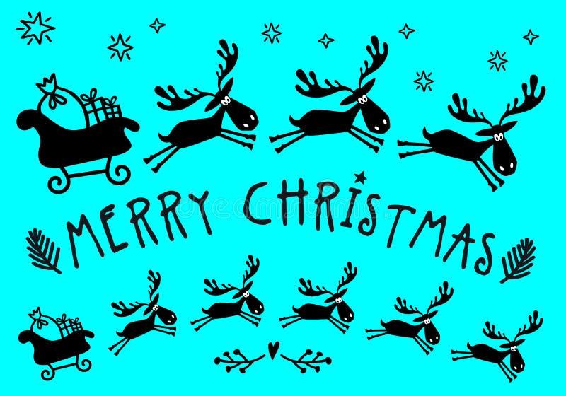 Сани Санта Клауса с лосями, вектором иллюстрация вектора