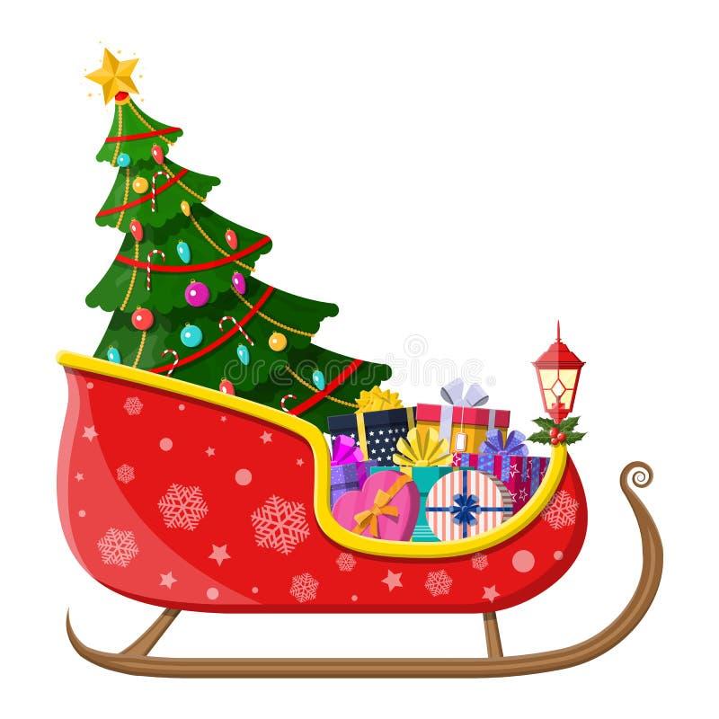 Сани Санта Клауса с подарками и рождественской елкой иллюстрация вектора