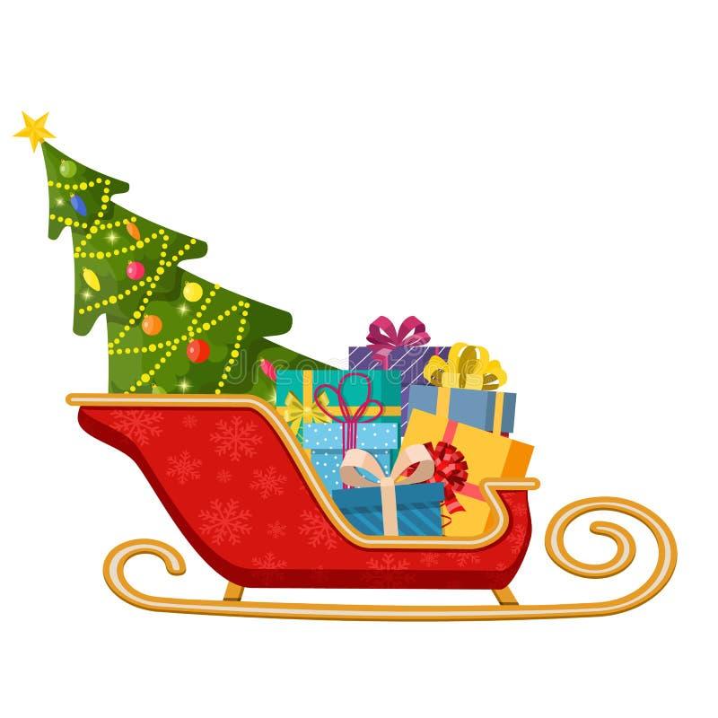 Сани Санта Клауса с подарками и рождественской елкой бесплатная иллюстрация