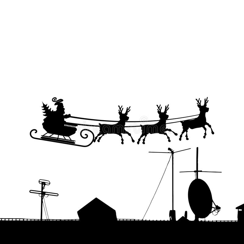 Сани Санта Клаус над крышей дома иллюстрация вектора