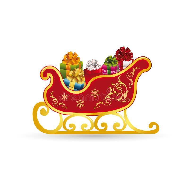 Сани Санта Клаус рождества, с подарками, богато украшенными, шаржем на whi бесплатная иллюстрация