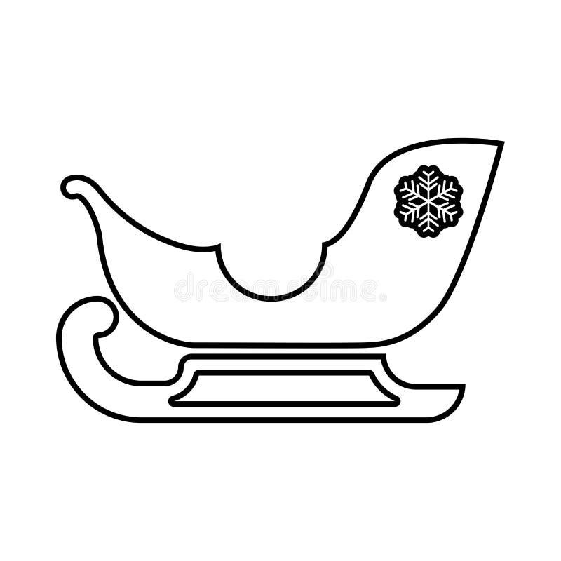 Сани Санта Клаус черный значок иллюстрация штока