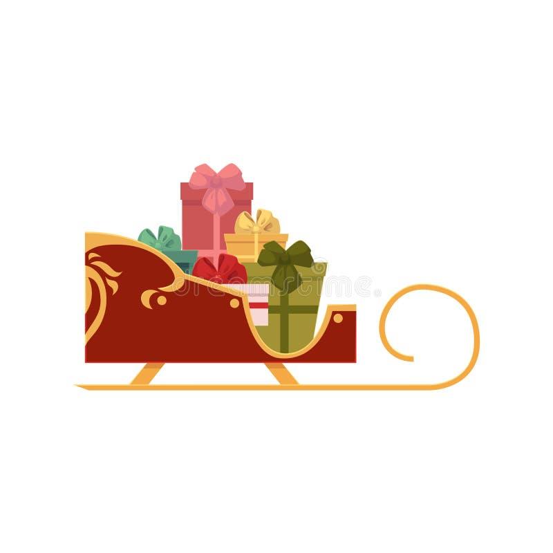 Сани Санты вполне присутствующих коробок, значка рождества бесплатная иллюстрация