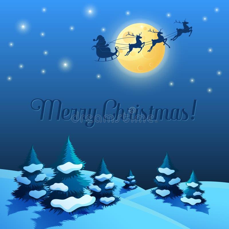 Сани Санты в лунном свете Ландшафт рождества и Нового Года бесплатная иллюстрация