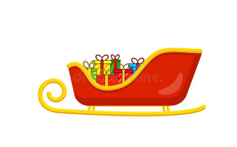Сани Санты при настоящие моменты для дизайна рождества изолированные на whit иллюстрация штока