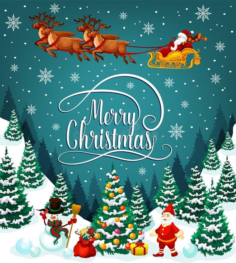 Сани Санты с поздравительной открыткой подарков рождества иллюстрация штока