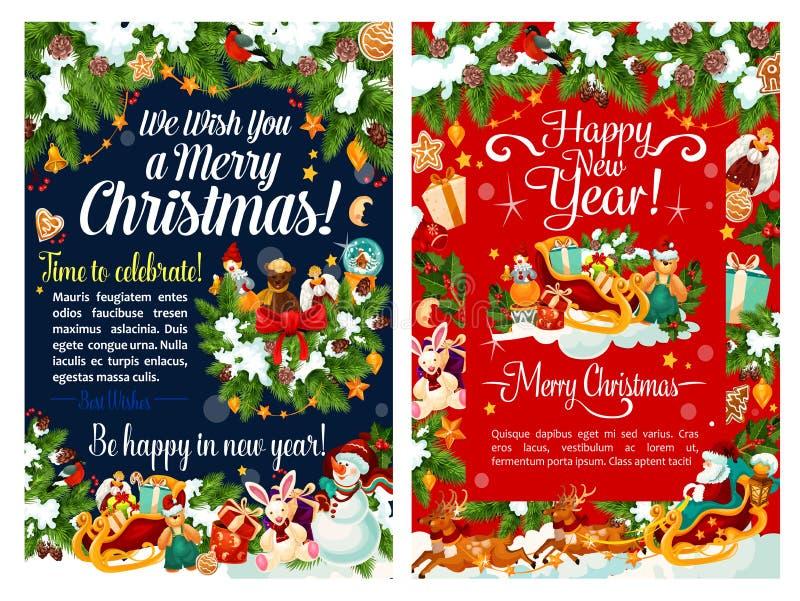 Сани Санты с рождественской открыткой подарка и снеговика бесплатная иллюстрация