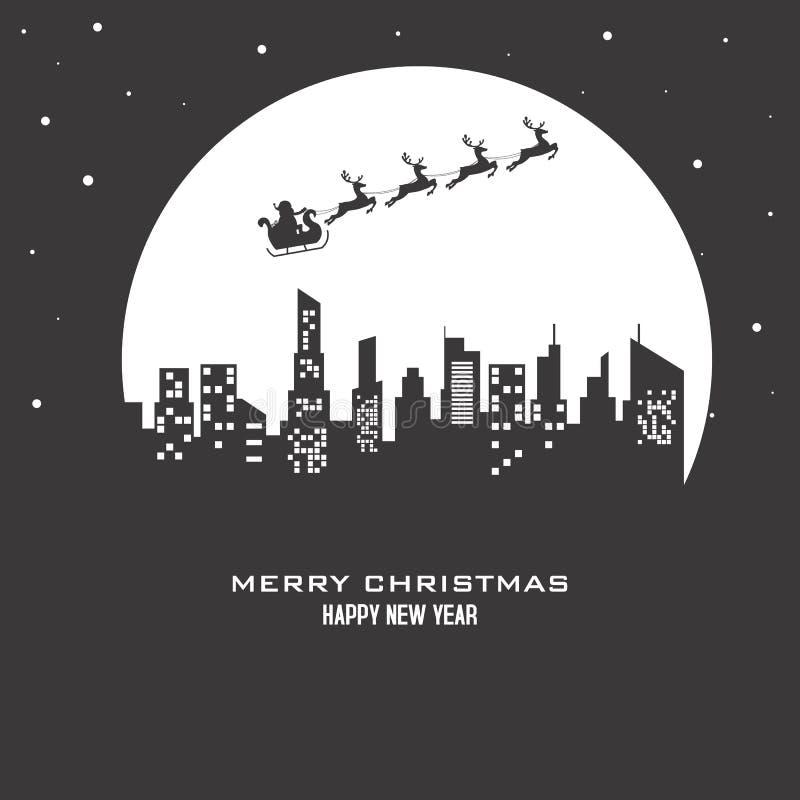 Сани северного оленя Санта Клауса над городом иллюстрация вектора