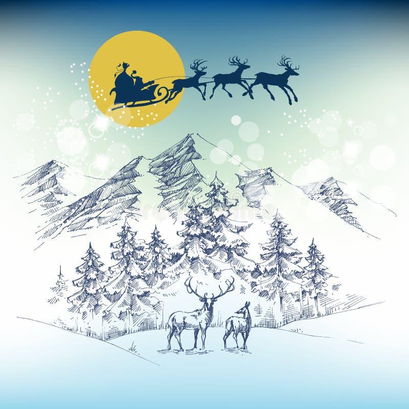Сани ` s Санты на ноче рождества бесплатная иллюстрация