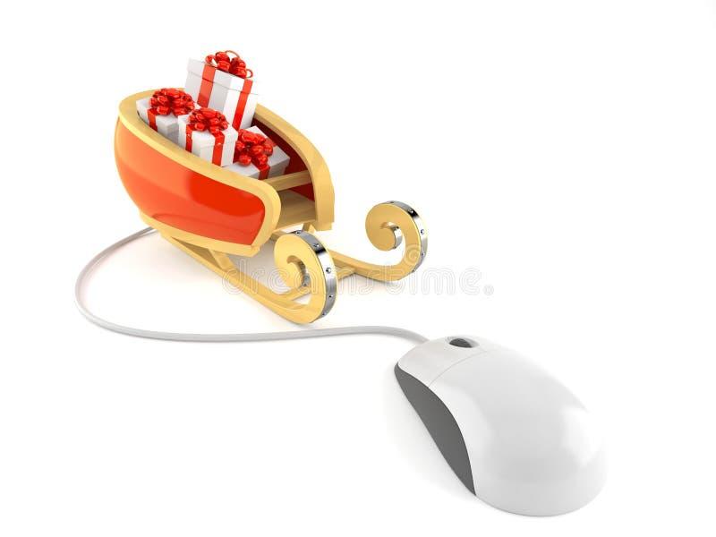 Сани ` s Санты с мышью компьютера иллюстрация вектора