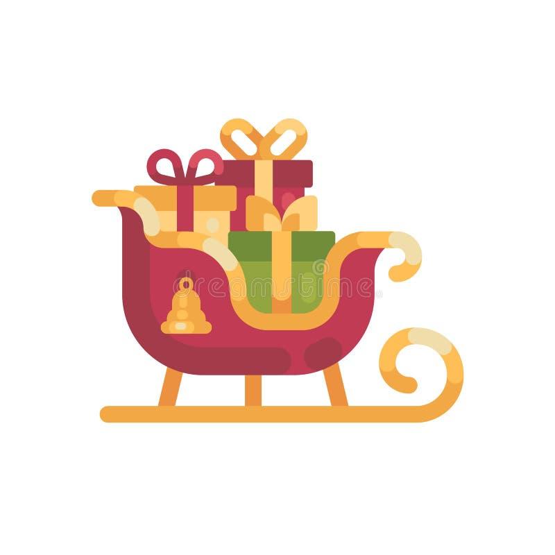 Сани ` s Санты с настоящими моментами Иллюстрация рождества плоская бесплатная иллюстрация