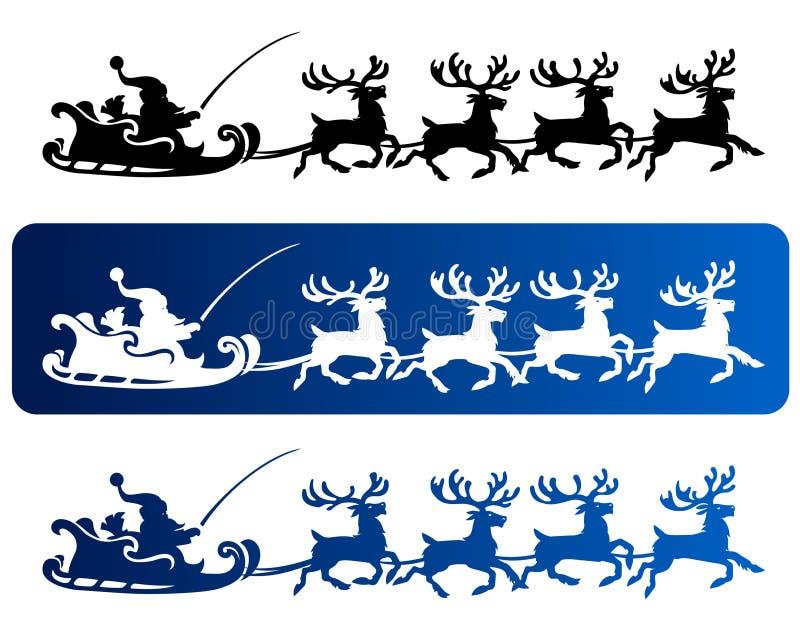 сани santa северного оленя иллюстрация штока