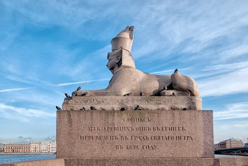 Санкт-Петербург Россия Египетский старый сфинкс с стороной фараона Amenhotep III стоковая фотография rf