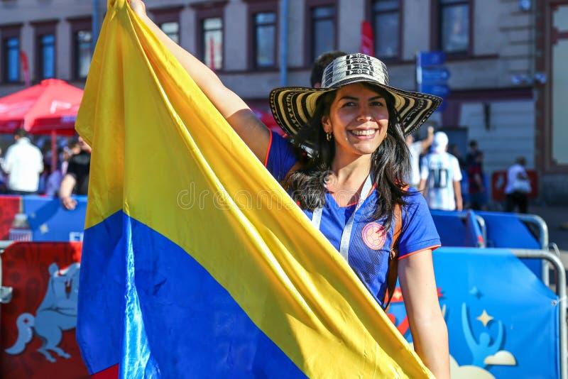 Санкт-Петербург, Россия - 26-ое июня 2018: Сторонник футбольной команды Колумбии стоковое изображение rf