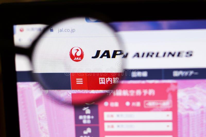 Санкт-Петербург, Россия - 10 октября 2019 года: Страница сайта компании Japan Airlines с иллюстративным редактором стоковая фотография