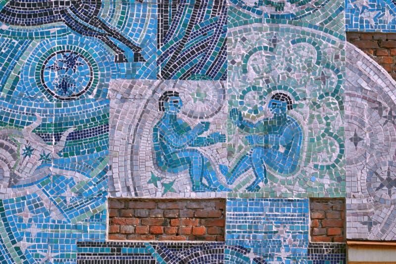 Санкт-Петербург, Россия - 23-ье августа 2018: Часть мозаики на человеке темы и космоса на стене дома на Botkin s стоковое изображение rf