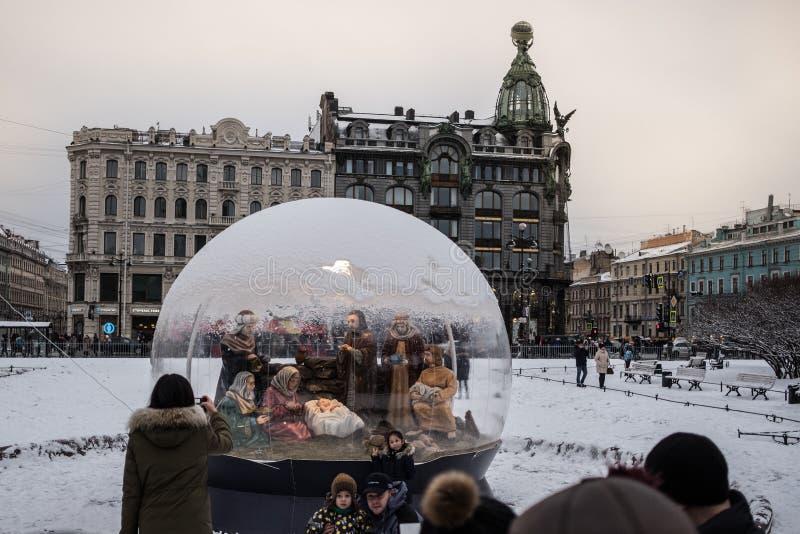 Санкт-Петербург, сцена рождества рождества стоковое фото