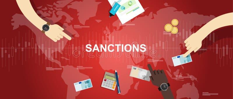 Санкционирует предпосылки иллюстрации спора экономики мир карты финансовой графический иллюстрация вектора
