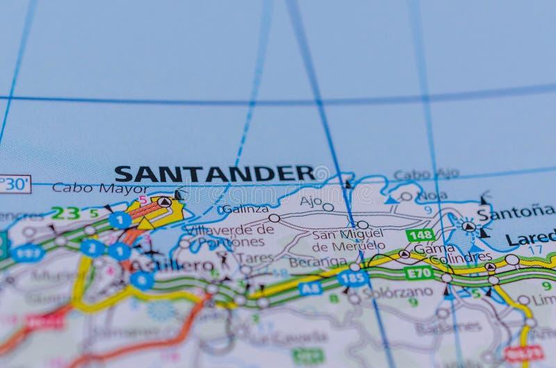 Сантандер на карте стоковое фото