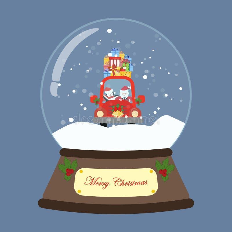 Санта в красном автомобиле в глобусе снега иллюстрация штока