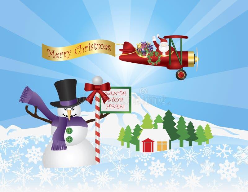 Санта в плоском летании над сценой снежка иллюстрация вектора