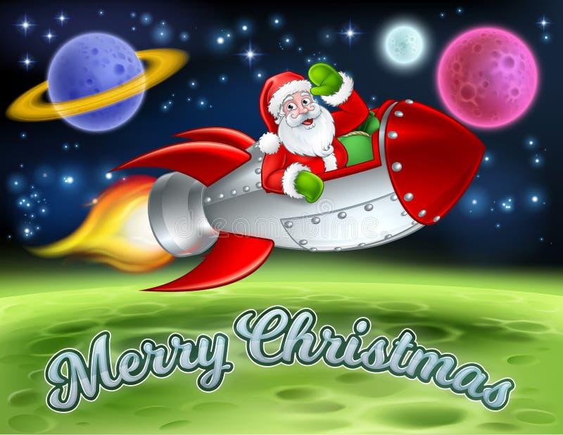 Санта в шарже Ракеты космоса с Рождеством Христовым иллюстрация вектора