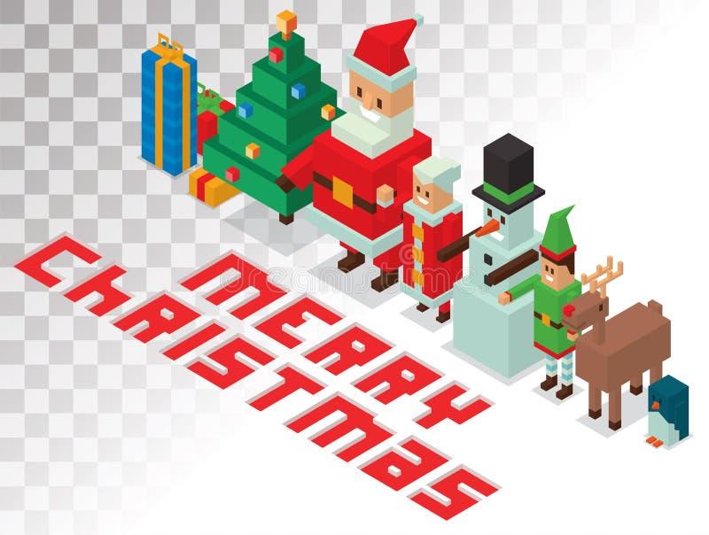 Санта, Госпожа Клаус, семья равновеликое 3d хелперов иллюстрация штока