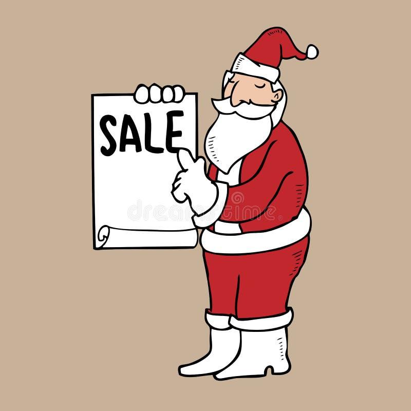 Санта держа чистый лист иллюстрация штока