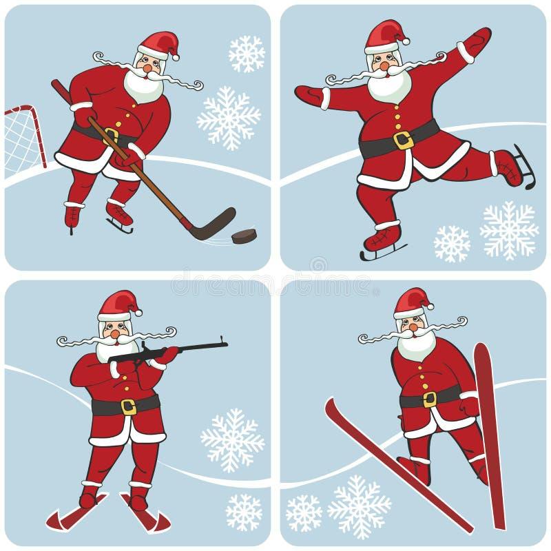 Санта играя спорт зимы Кататься на коньках, катающся на лыжах, хоккей, иллюстрация штока