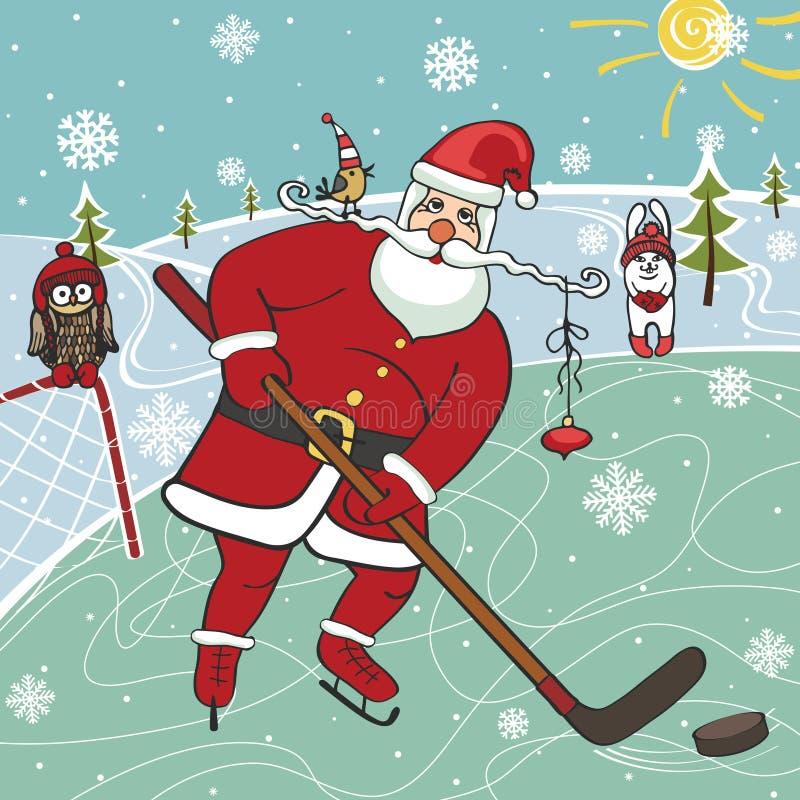 Санта играя хоккей на льде Юмористические иллюстрации иллюстрация вектора