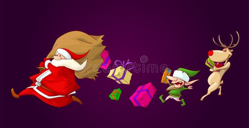 Санта имея присутствующую аварию иллюстрация вектора