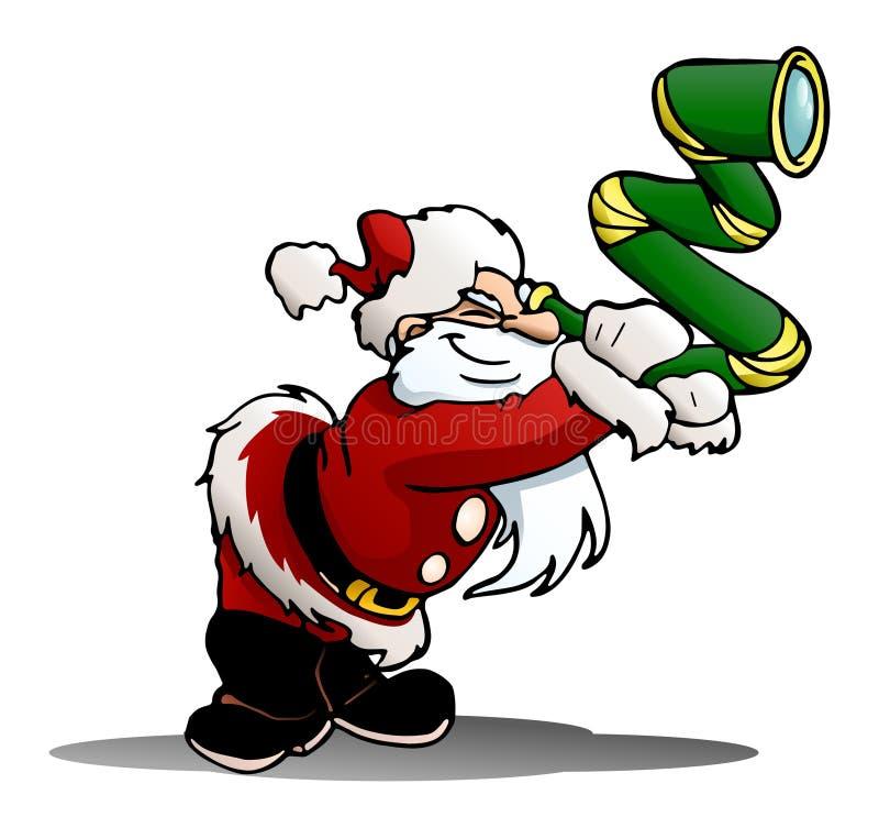 Санта используя белизну изолированную telescopeon иллюстрация вектора