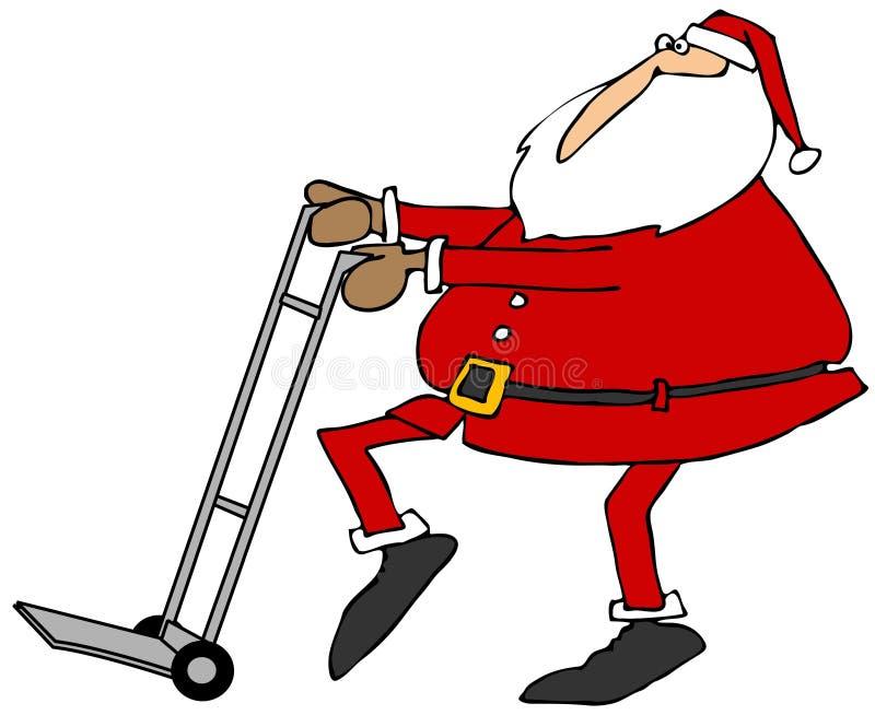 Санта используя ручную тележку иллюстрация вектора