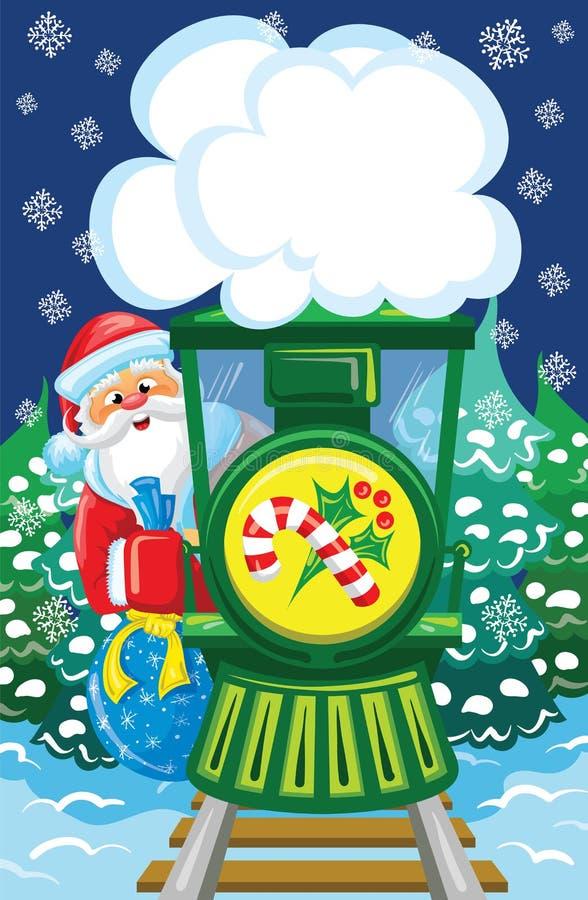 Санта идет поездом рождества иллюстрация вектора