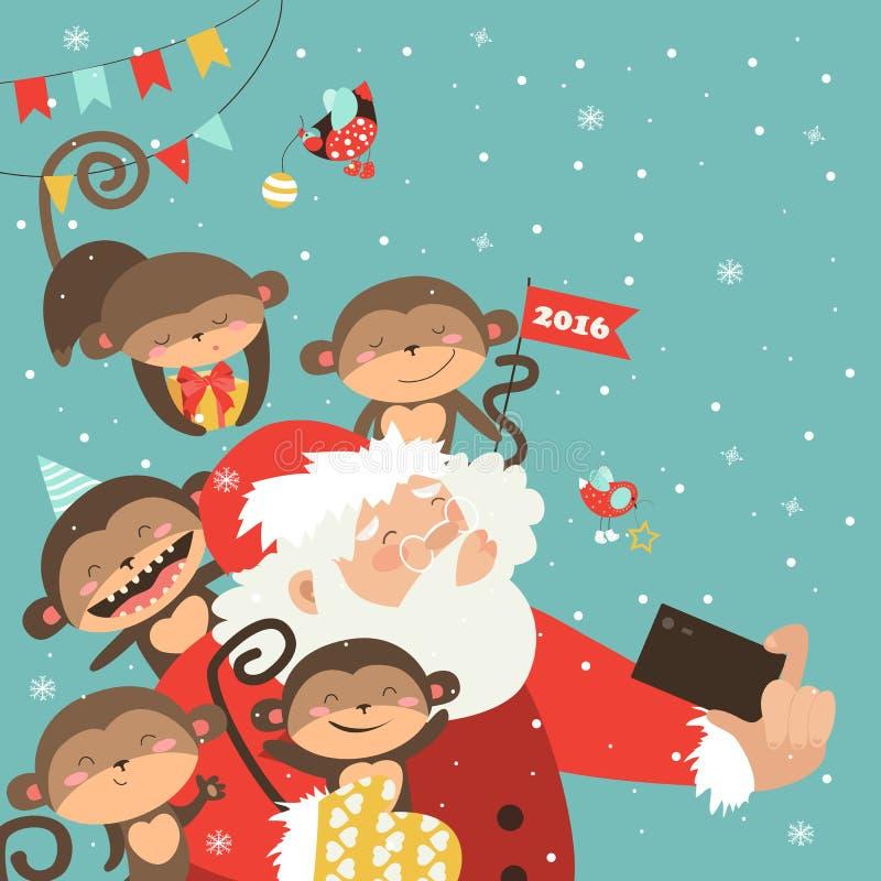 Санта и обезьяны принимают selfie иллюстрация вектора