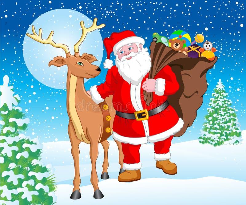 Санта и северный олень с подарком для рождества бесплатная иллюстрация