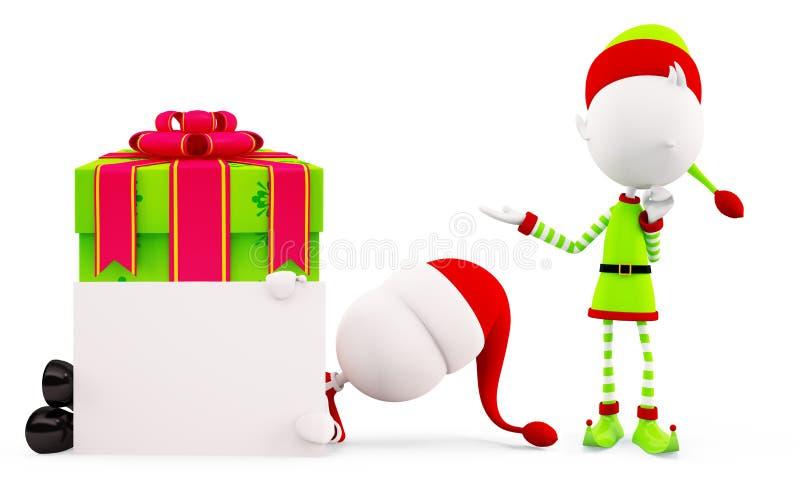 Санта и эльфы для рождества иллюстрация штока