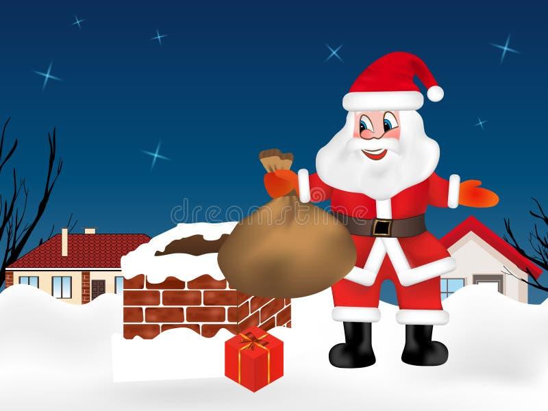 Санта Клаус вверх на крыше около камина с мешком вполне подарков Город ночи зимы небо klaus santa заморозка рождества карточки ме иллюстрация вектора