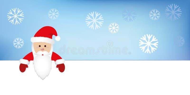 Санта Клаус в красном цвете одевает голубую предпосылку снега иллюстрация штока
