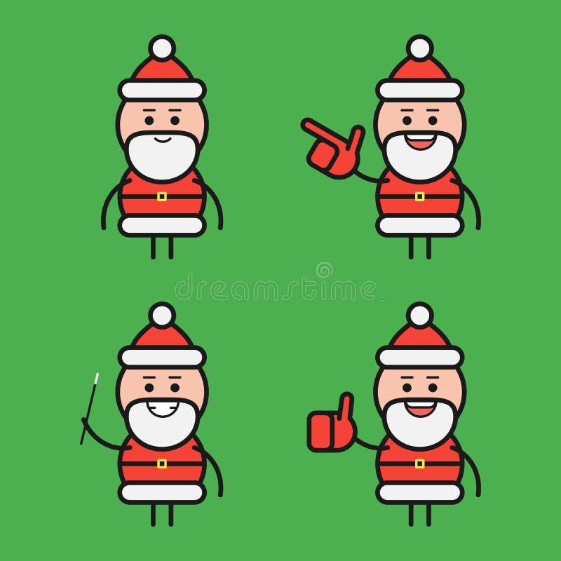 Санта Клаус в различных представлениях вектор сетки характера установленный Часть 2 также вектор иллюстрации притяжки corel бесплатная иллюстрация