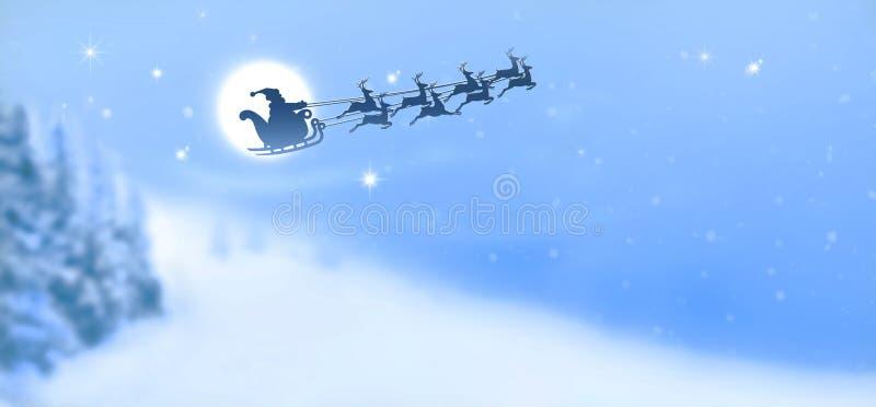 Санта Клаус в скелетоне саней и северного оленя на предпосылке полнолуния в ночном небе стоковая фотография