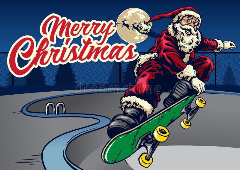 Санта Клаус играя скейтборд в бассейне иллюстрация вектора