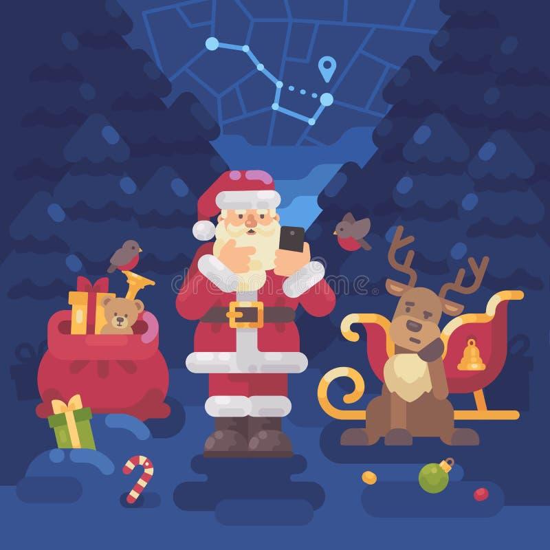 Санта Клаус и его северный олень потеряли их путь в лесе иллюстрация вектора