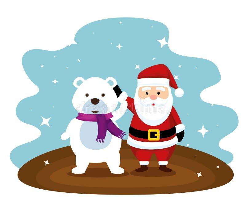 Санта Клаус и медведь снега с шарфом иллюстрация вектора