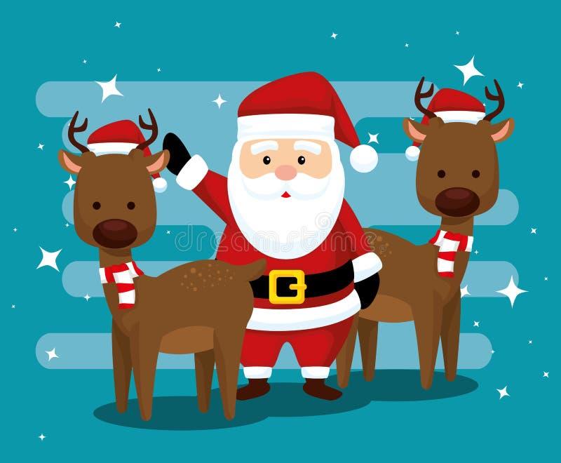 Санта Клаус и олени со шляпой и шарфом иллюстрация штока