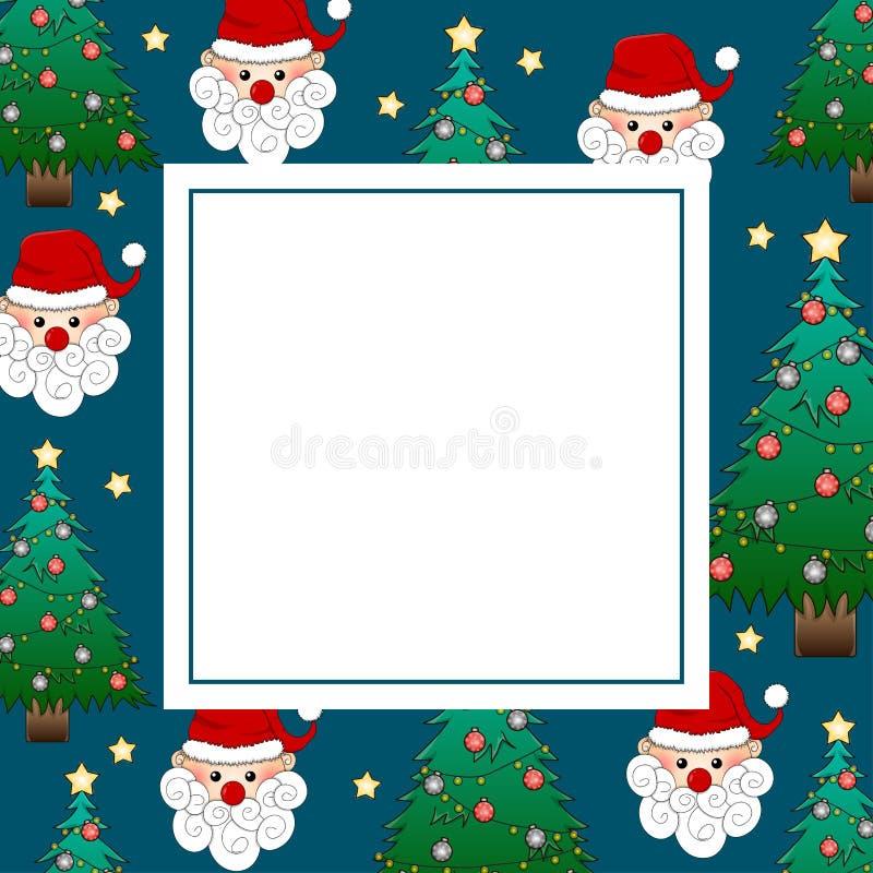 Санта Клаус и рождественская елка на карточке знамени сини индиго также вектор иллюстрации притяжки corel иллюстрация вектора