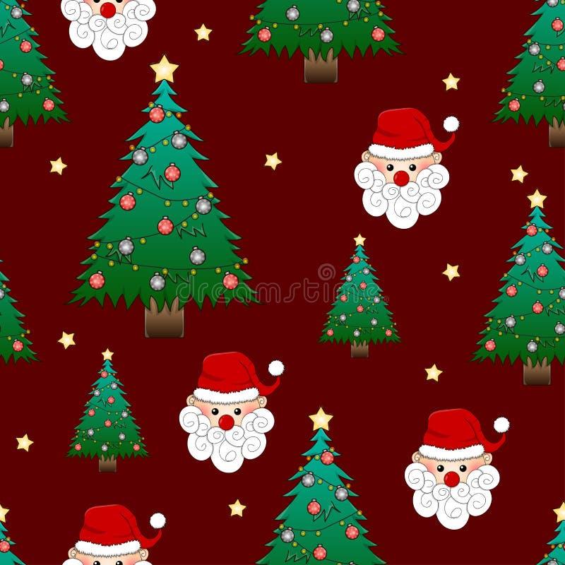 Санта Клаус и рождественская елка на красной предпосылке также вектор иллюстрации притяжки corel иллюстрация штока