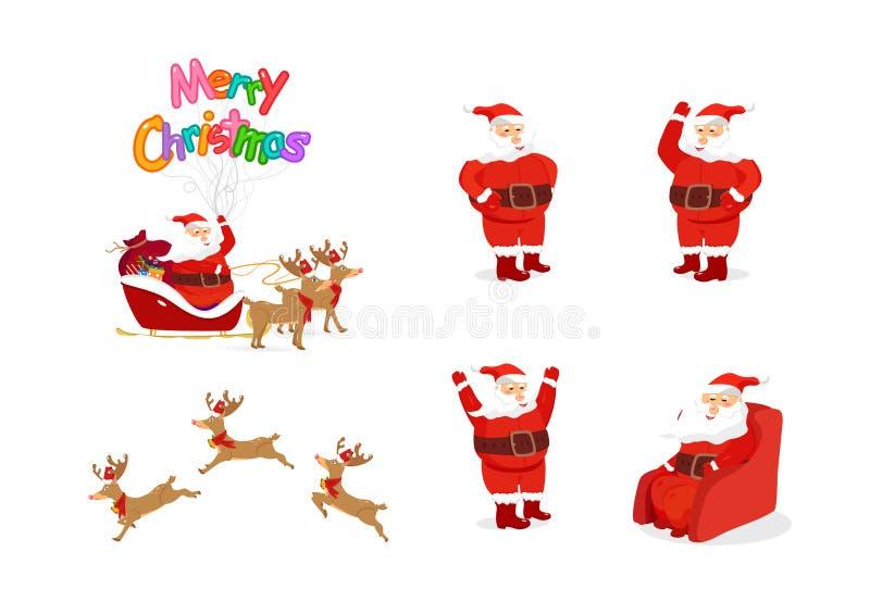 Санта Клаус и северный олень, анимация персонажей из мультфильма, позиция бесплатная иллюстрация